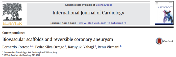International Journal of Cardiology – Biovascular scaffolds and reversible coronary aneurysm