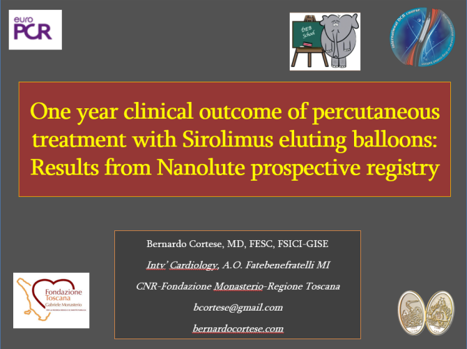 EURO PCR 2017 – One year clinical outcome of percutaneous treatment with Sirolimus eluting balloons: Results from Nanolute prospective registry