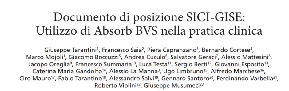 GIC – Documento di posizione SICI-GISE: Utilizzo di Absorb BVS nella pratica clinica